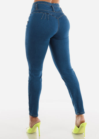 Image of High Rise Blue Wash Butt Lifting Skinny Jeans