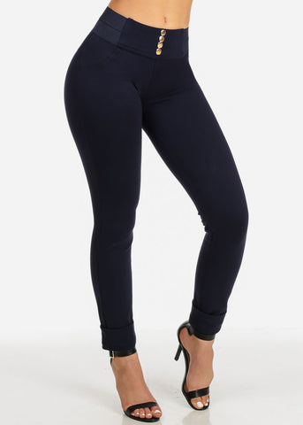 Navy Low Rise Slim Skinny Pants
