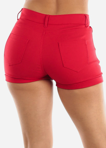 High Waisted Red Shorts