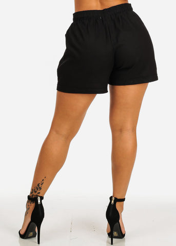 Image of Ultra High Waist Black Linen Shorts