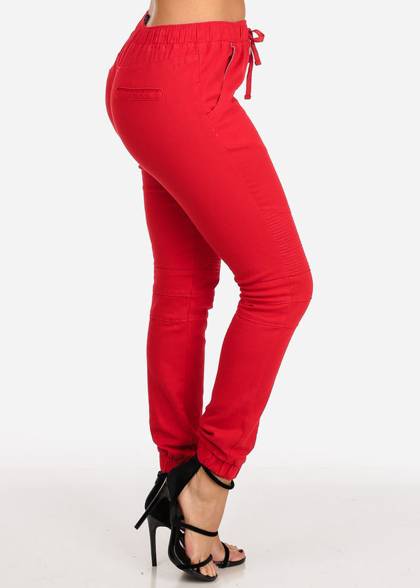 Women's Junior Ladies Mid Rise Moto Design Style Red Jogger Pants