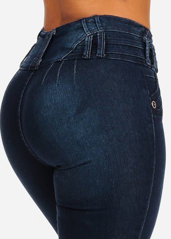 High Waisted Butt Lifting Dark Skinny Jeans