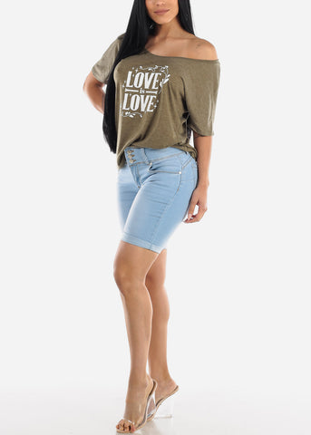Image of Butt Lifting Light Denim Bermuda Shorts