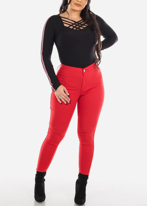 High Rise Red Jegging Skinny Pants