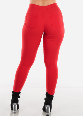 Image of High Rise Red Jegging Skinny Pants
