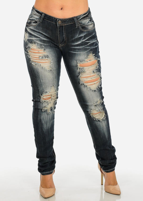 MACHINE JEANS Mid Waist Distressed Jeans