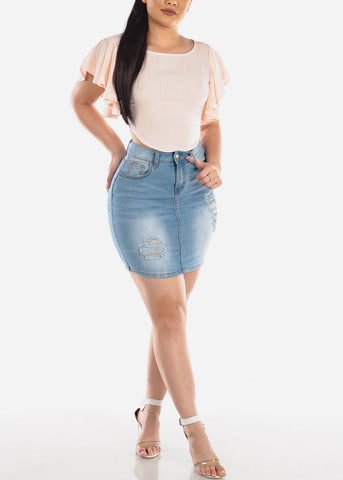 1 Button Light Wash Ripped Distressed High Waisted Denim Jean Skirt For Women Ladies Junior