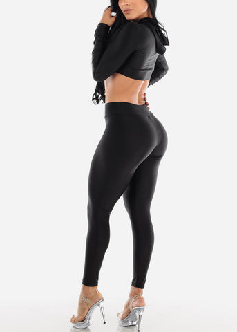 Image of Black Satin Crop Hoodie & Pants (2 PCE SET)