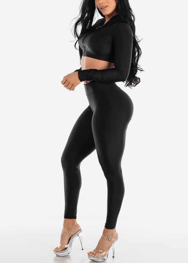 Black Satin Crop Hoodie & Pants (2 PCE SET)