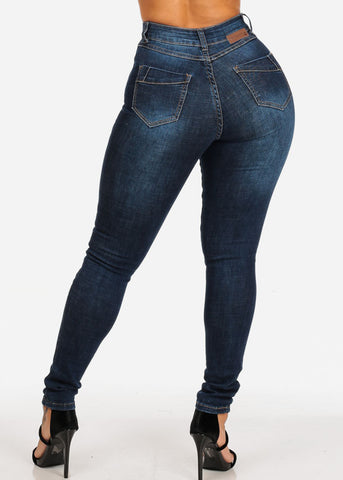 Image of Dark Ripped High Rise Skinny Jeans