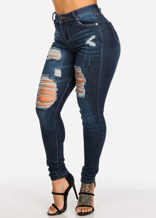 Dark Ripped High Rise Skinny Jeans