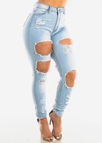 Image of Double Sided Torn Light Skinny Jeans