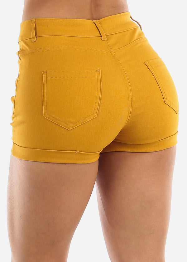 High Waisted Mustard Shorts