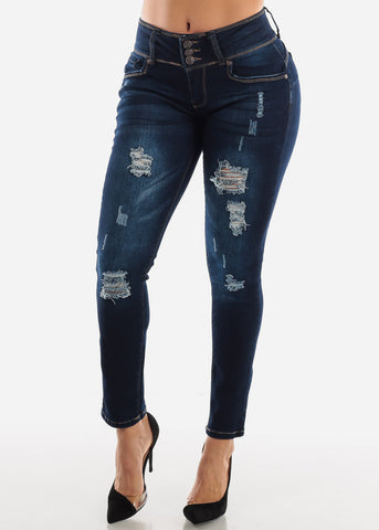 Image of Ripped Straight Leg Butt Lift Jeans