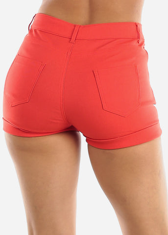 Image of High Waisted Coral Shorts