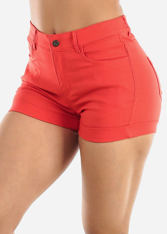 High Waisted Coral Shorts