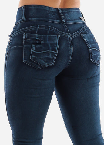 Dark Washed Butt Lift Straight Jeans