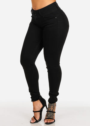 High Rise Butt Lifting Black Skinny Jeans