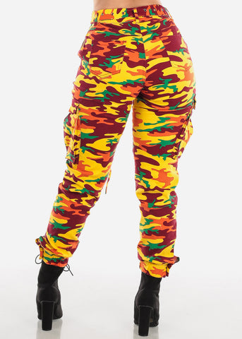 Camo Cargo Pants Distressed Multicolor