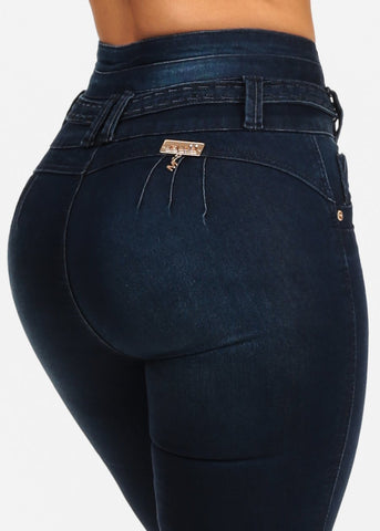 Butt Lifting Colombian Design Push Up High Rise Dark Wash Skinny Jeans
