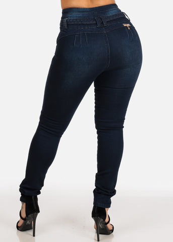 Image of Butt Lifting Colombian Design Push Up High Rise Dark Wash Skinny Jeans