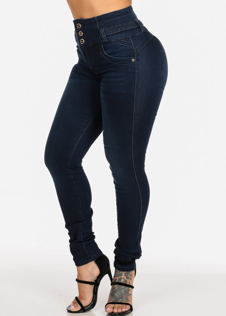 33d02142fd Butt Lifting Colombian Design Push Up High Rise Dark Wash Skinny Jeans