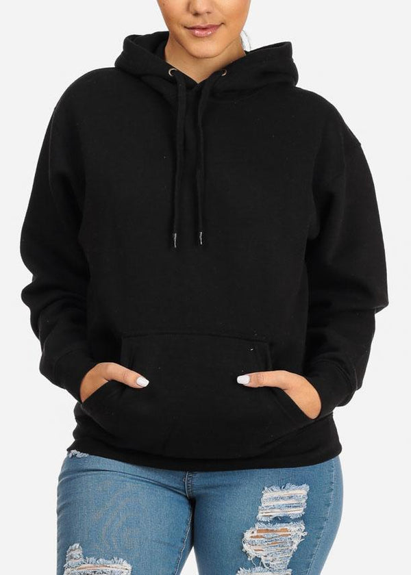 Pullover Style Black Sweater W Hood