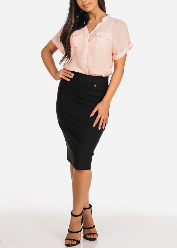Black Pencil Midi Skirt