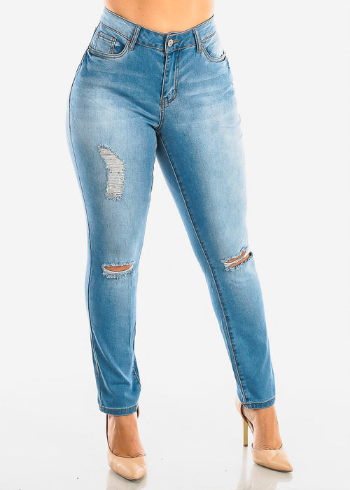 Plus Size Ripped Light Wash Skinny Jeans