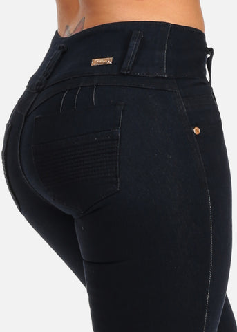 Image of Butt Lifting Colombian Design Push Up Mid Rise Dark Wash Skinny Jeans