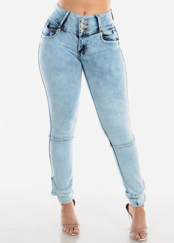 Image of Light Acid Wash Butt Lifting Skinny Jeans