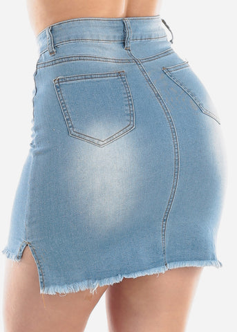 Image of 1 Button Light Wash Raw Hem High Waisted Denim Jean Skirt For Women Ladies Junior
