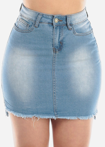 1 Button Light Wash Raw Hem High Waisted Denim Jean Skirt For Women Ladies Junior