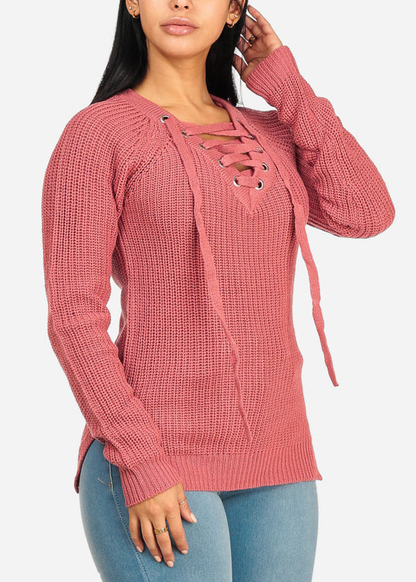 V Lace Up Neckline Side Slits Rose Sweater