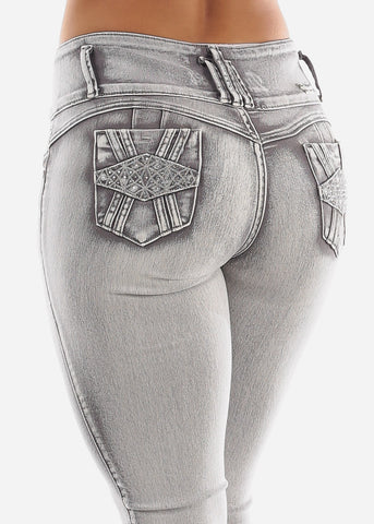 Image of Grey Butt Lift Straight Leg Jeans