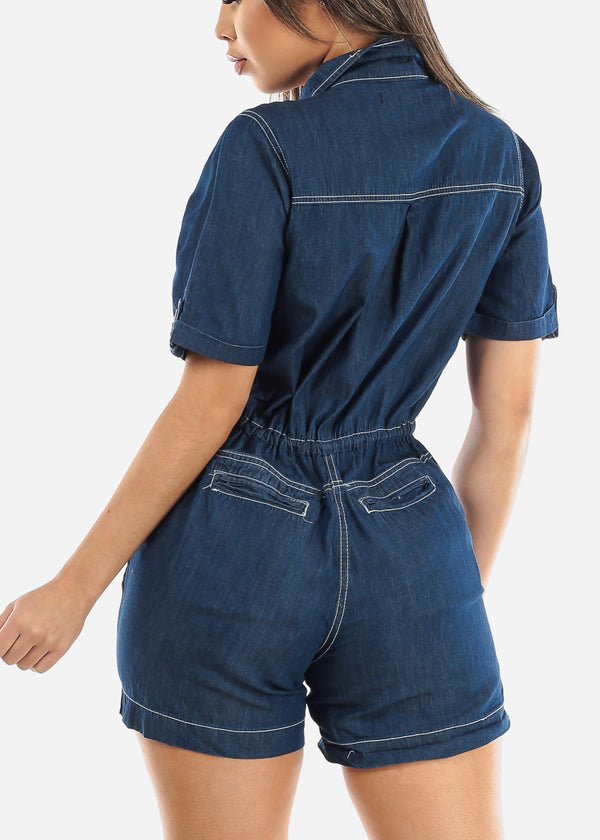 Short Sleeve Dark Wash Romper