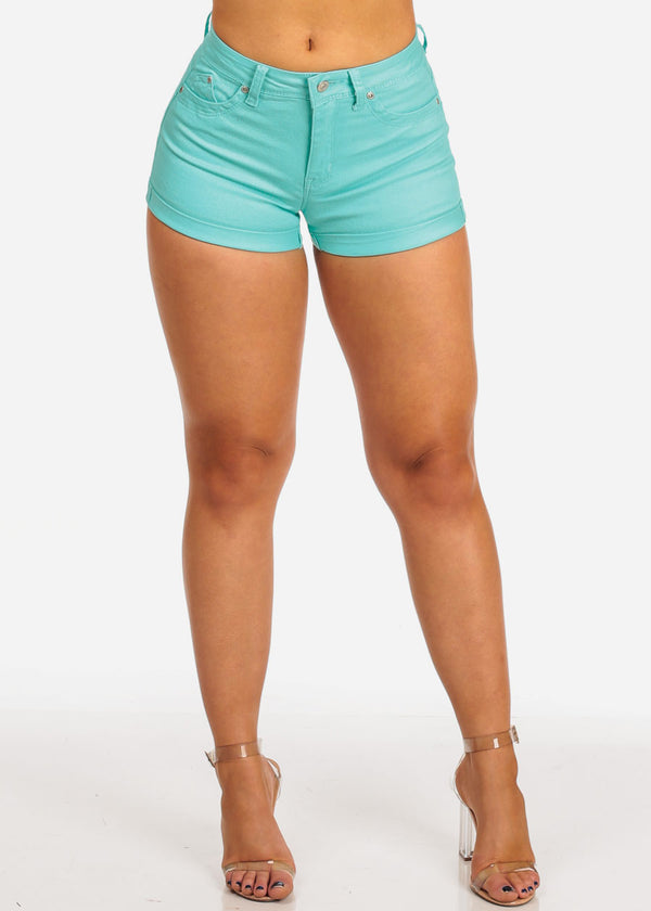 Women's Junior Must Have Summer Beach Vacation Booty Butt Lifting Sexy Stylish Mint Denim Shorts