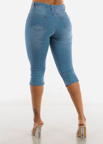 Image of Light Blue Ripped Capris