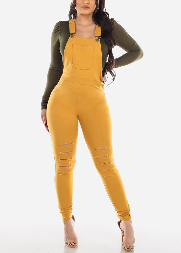 Distressed Mustard Overall