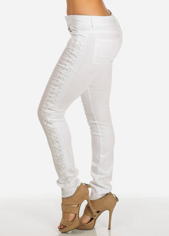 Cache Brand White Lace Up Skinny Pants