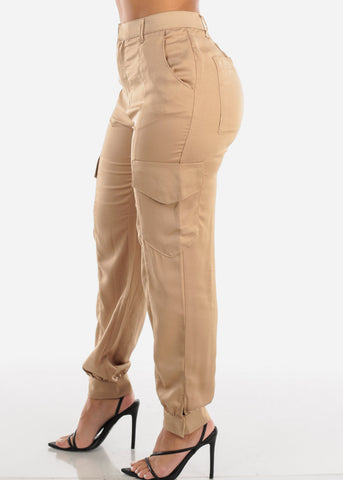Image of Glossy High Rise Beige Dressy Pants