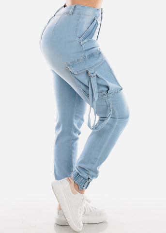 Light Wash Denim Cargo Pants