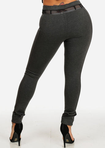 High Rise Charcoal Skinny Pants