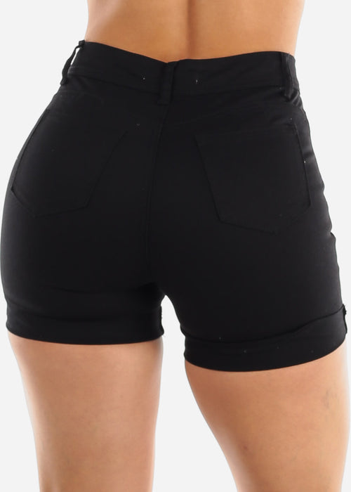 Torn Black Denim Shorts