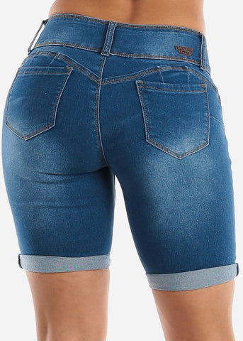 Image of Butt Lifting Med Wash Denim Bermuda Shorts