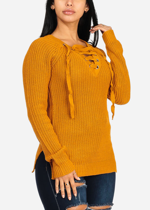 Stylish Long Sleeve V Lace Up Neckline Side Slits Knitted Mustard Sweater Top