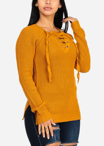 Image of Stylish Long Sleeve V Lace Up Neckline Side Slits Knitted Mustard Sweater Top