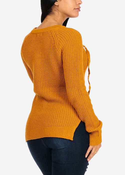 V Lace Up Neckline Side Slits Mustard Sweater