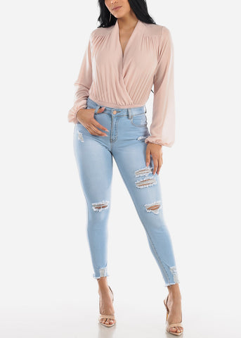 Image of Light Wash Distressed Skinny Jeans