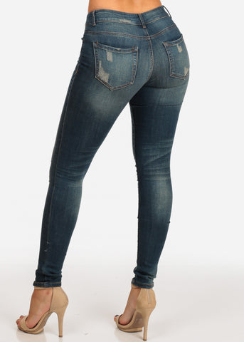 NINE PLANET Trendy Mid Rise Dark Wash Distressed Skinny Jeans